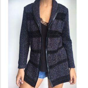 MING WANG open knit blazer jacket faux leather S